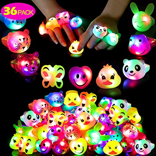 Birthday Party Favors for Kids, Prizes Flashing 36 Pack LED Jelly Light Up Rings Toys Bulk Boys Girls Gift Blinky Glow in The Dark Party Supplies with 100 Glow Stars 9 Color 9 Shape -