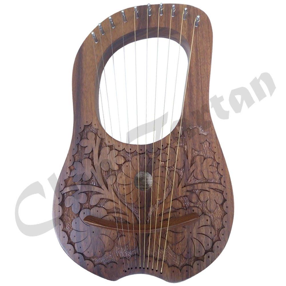 Lira (Arpa cadena de 10metal instrumentos Shesham madera/Lyra Arpa/LIRA (Harfe/caso Clan Tartan