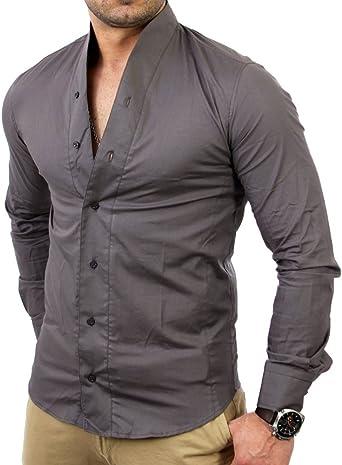 Tazzio TZ9005 - Camisa para hombre, color gris oscuro gris small: Amazon.es: Ropa y accesorios