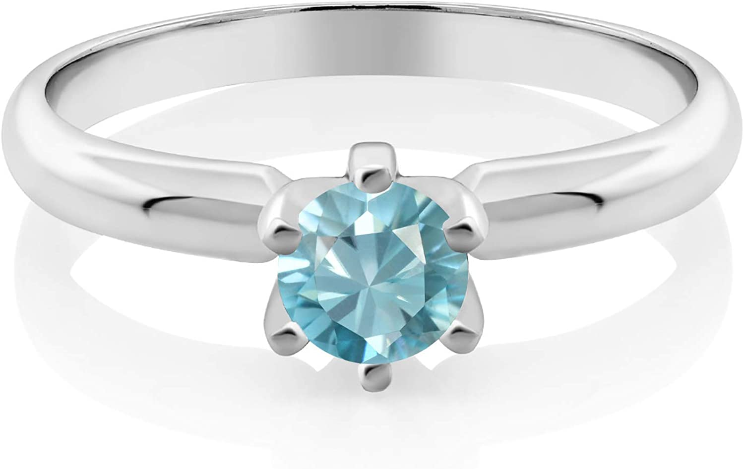 925 Sterling Silver Blue Topaz Ring Gemstone Oval Claw Solitaire US Size 7 8 9