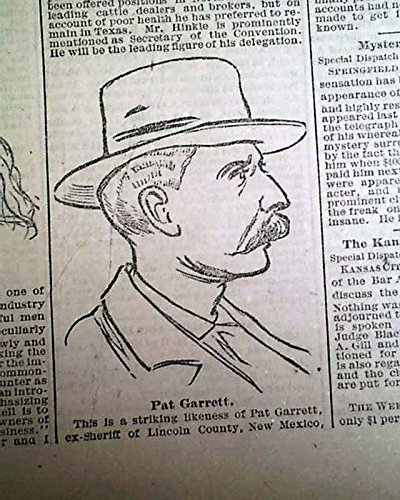 Old Prints Rare (Rare PAT GARRETT Billy The Kid Assassin Old West Sheriff PRINT 1885 Newspaper ST. LOUIS GLOBE-DEMOCRAT, Nov. 7, 1885)