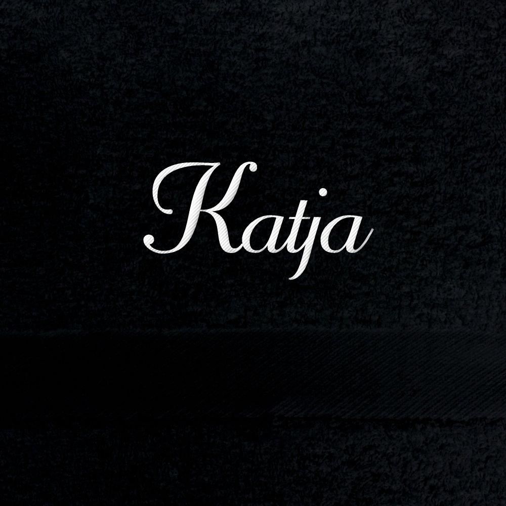 100% schwarz 100x180 cm extra flauschige 550 g/qm Baumwolle Saunatuch mit Bestickung Badetuch mit Namen besticken Saunahandtuch mit Namen Katja bestickt