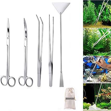 Signstek – Depósito de acero inoxidable Acuario Planta acuática Pinzas tijera espátula juego de herramientas para