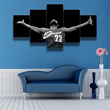 Amazon.com: Lebron James, Canvas Wall Art Framed 5 Panel (Size 1 ...