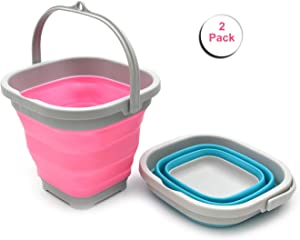 SAMMART Set of 2-2.6L (0.68 Gallon) Super Mini Sqare Collapsible Plastic Bucket - Foldable Square Tub - Portable Fishing Water Pail - Space Saving Outdoor Waterpot (2, Pink + Bright Blue)