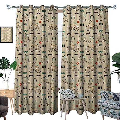 BlountDecor Retro Room Darkening Wide Curtains Hipster Style Pattern with Old Fashioned Bicycles Sunglasses Headphones Cameras Lips Decor Curtains by W108 x L96 Multicolor ()