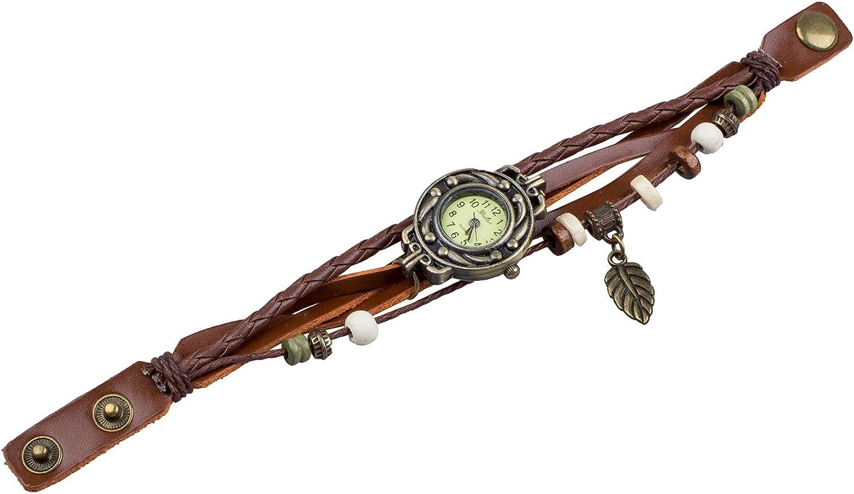 TOOGOO(R) Reloj de Pulsera Cuarzo Banda de Cuero Estilo Antiguo para Chica Mujer - Cafe