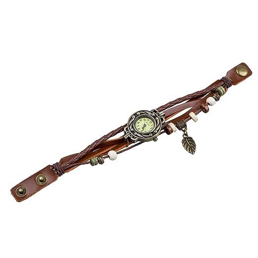 TOOGOO (R) Reloj de Pulsera Cuarzo Banda de Cuero Estilo Antiguo para Chica Mujer - Cafe: Amazon.es: Relojes