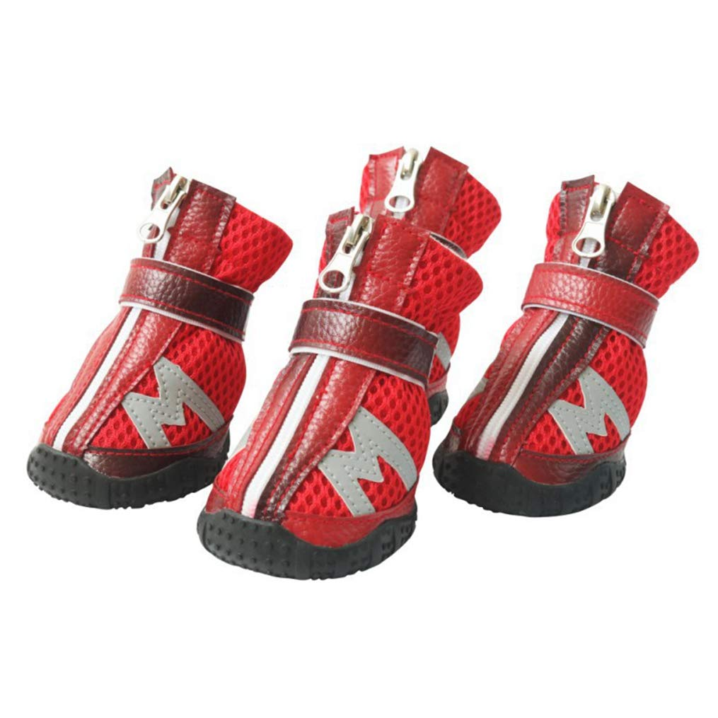 Red S Red S AOBRITON 4 Pcs Lot Pet shoes Dog Anti Slip Breathable Mesh Hook Mesh Breathable Pet shoes for Dogs