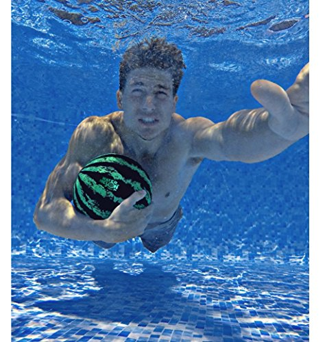 Watermelon Ball - The Ultimate Swimming Pool Game | Pool Ball for Under Water Passing, Dribbling, Diving and Pool Games for Teens, Kids, or Adults | 9 in. Ball Fills with Water