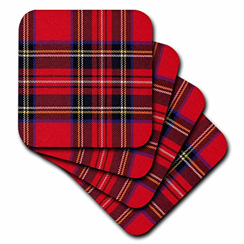 3dRose cst_56169_3 Red N Green Plaid Ceramic Tile Coasters, Set of 4