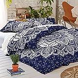 Indian King Size Blue Silver Ombre Mandala Duvet Cover, Indian Mandala Reversible Duvet Cover, 100% Cotton Handmade Mandala Duvet Cover Throw Comforter Cover,