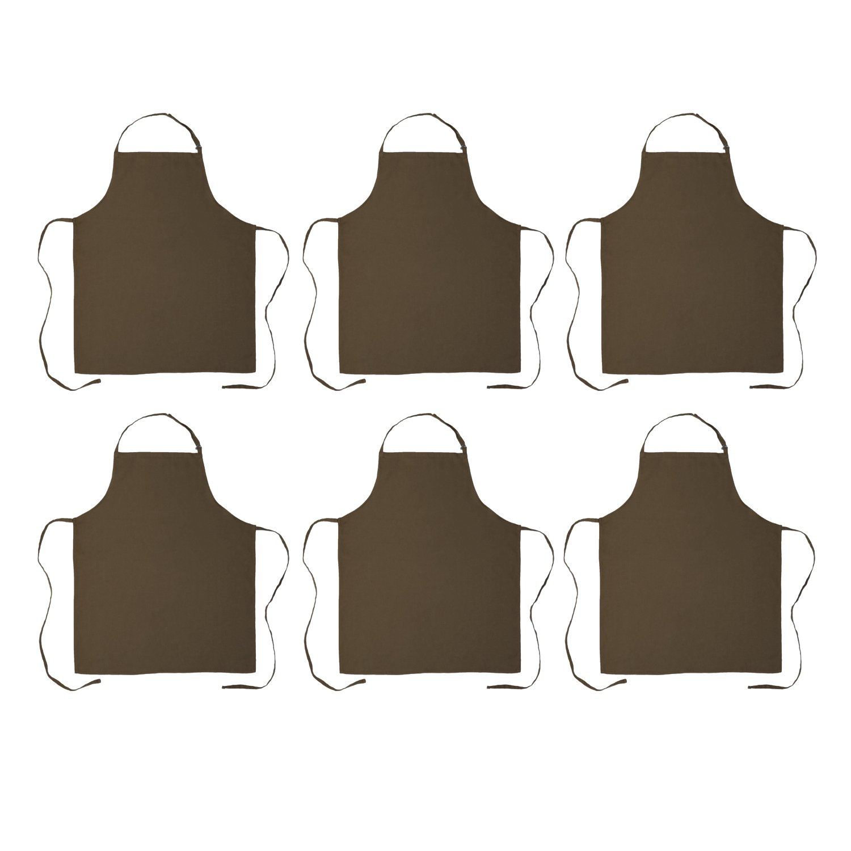 DII 100% Cotton, Commercial Bib Chef Apron, Restaurant, Bistro, Coffee shop, Bar Waitress Waiter Uniform, Durable, Easy Care, Adjustable Neck & Waist Ties,  Set of 6-Brown
