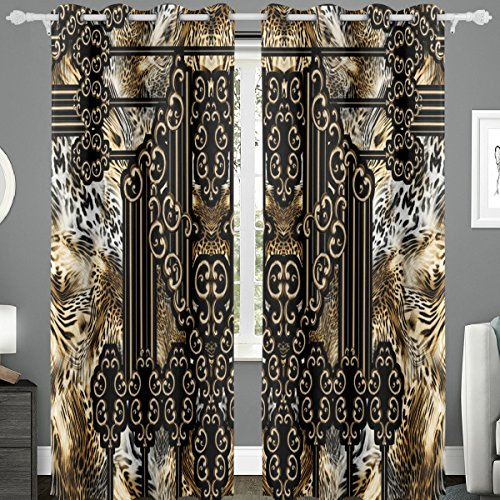 - Naanle 2 Piece Boho Decor Tribal Pattern Leopard Print Baroque Style Art Background Blackout Grommet Window Curtains/drape/panels/treatment for French Doors (110