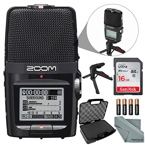 (Zoom H2n Portable Handy Digital Audio Recorder Bundle with 16 GB + Case + Batteries + XPIX Tripod + Fibertique Cloth)