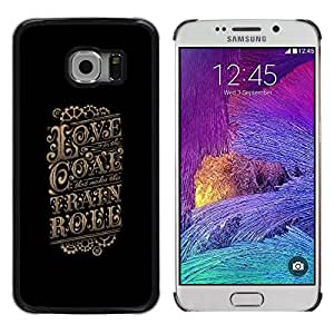 Planetar® ( Love Gold Vintage Retro Poster Black ) Samsung Galaxy S6 EDGE / SM-G925 / SM-G925A / SM-G925T / SM-G925F / SM-G925I Fundas Cover Cubre Hard Case Cover