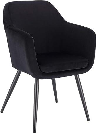 E-starain 1 Pi/èce Chaise de Salle /à Manger Chaise de Cuisine R/étro Chaise de Salon Rembourr/ée en Velours,Pied en m/étal,Chaise avec Dossier et Accoudoirs,Noir