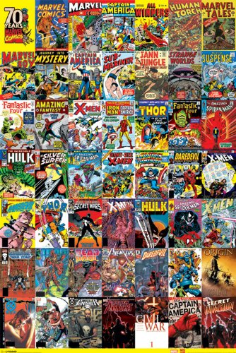 Marvel Comics 70 Years of Comics Retro Vintage Cover Art Poster 24x36 Inch