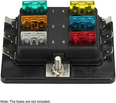 KKmoon 6 Vías Portafusibles Caja de Fusibles para Coche Barco Marino 12V 24V: Amazon.es: Coche y moto