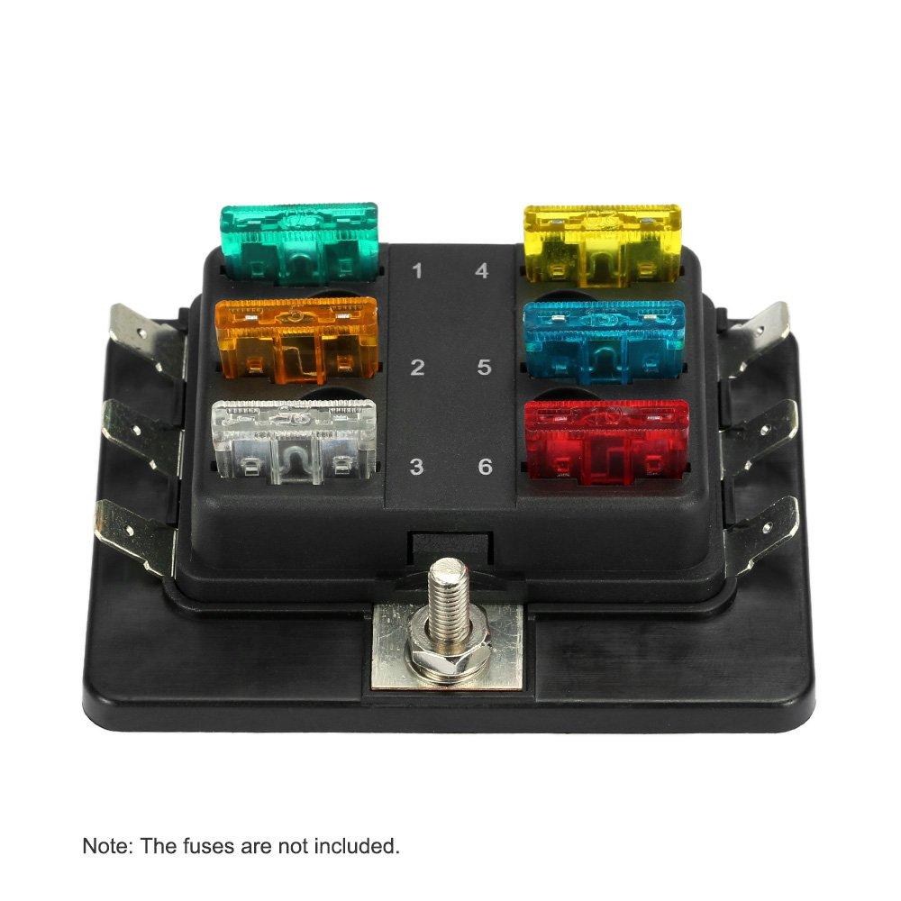 KKmoon 6 Ví as Portafusibles Caja de Fusibles para Coche Barco Marino 12V 24V