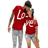 aihihe Couples Matching Shirts Set Matching Men Women Letter Print Love Couple T-Shirt Blouse Tops Clothes Valentine