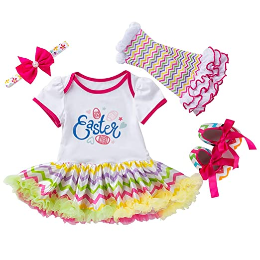 4c5203cfd01b Easter Outfits for Baby Girls - Toddlers Romper Dress Set with Leg Warmers  Headband Shoes