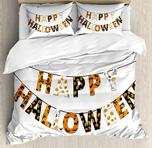 Halloween Queen Size Duvet Cover Set by Ambesonne, Happy Halloween Banner Greetings Pumpkins Skull Cross Bones Bats Pennant, Decorative 3 Piece Bedding Set with 2 Pillow Shams, Orange Black White -