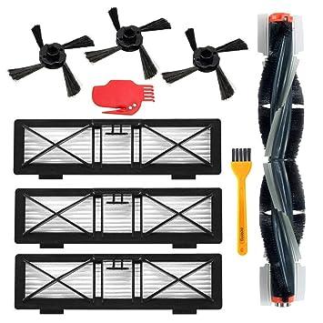 Accesorios Reemplazo para Neato Botvac Robot Aspirador 75e 75 80 85 Kit de reemplazo 1 Cepillo principal, 3 filtros Hepa, 3 cepillos laterales, ...