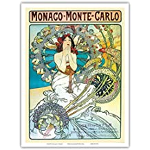 Monaco - Monte Carlo - French Railways - Art Deco- Vintage French Railway Travel Poster by Alphonse Mucha ca.1897 - Master Art Print - 9in x 12in