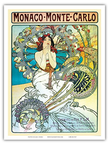 (Pacifica Island Art - Monaco Monte Carlo - Vintage Railroad Travel Poster by Alphonse Mucha ca.1897 - Master Art Print - 9in x 12in)