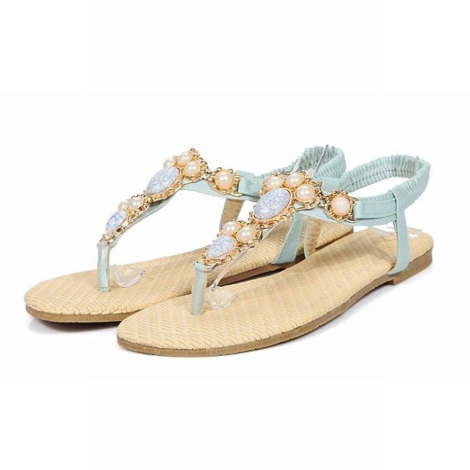 Damen Flach Zehentrenner Knöchelriemchen Sandalen mit Perlen und Künstliche Edelsteine Modern Schnalle Sandalen (37 EU, Blau) MissSaSa