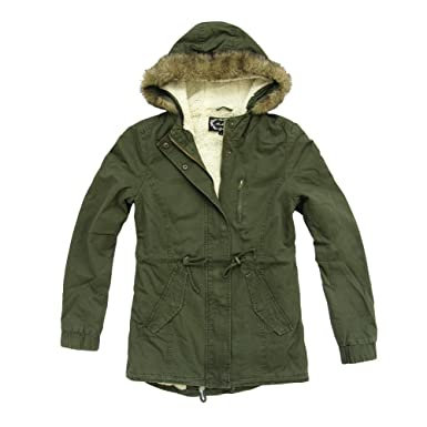 Women's Sherpa-Lined Military Army Parka Jacket with Hoodie at ...