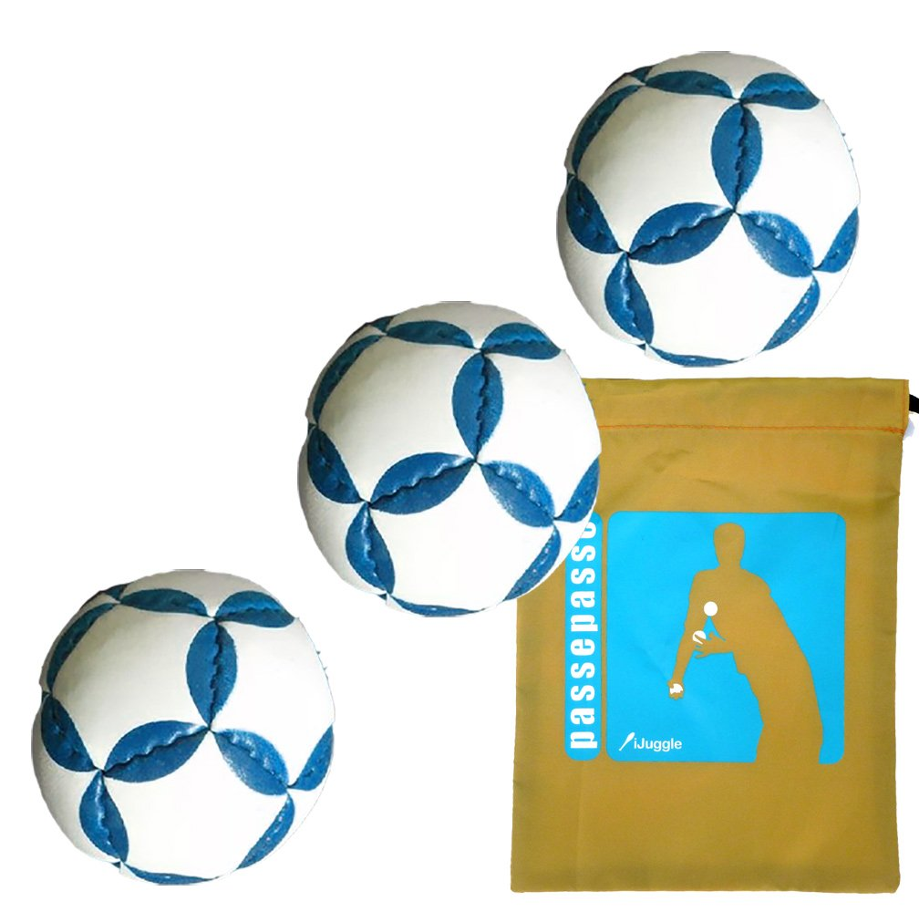 Passe Passe 3 palle giocoleria pro Tossa bianco / blu 12 volti rivestito in pelle, 130g, plastica riempimento schiacciato sabbia + PassePasse