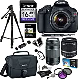 Canon EOS Rebel T5 18 MP Digital SLR Camera Bundle with EF-S 18-55mm IS II/ EF 75-300mm f/4-5.6 III and Accessories (13 Items)