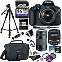 Canon EOS Rebel T5 Digital SLR Camera Bundle with EF-S 18-55mm IS II Lens, EF 75-300mm f/4-5.6 III Lens, Canon Bag, Lexar 16GB, Filter Kit and Accessories Basic Intro Review Image
