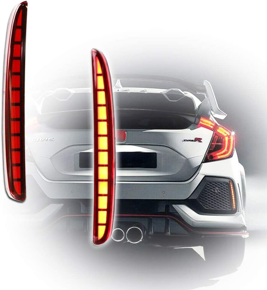 GTINTHEBOX Red Lens Full LED Bumper Reflector Lights Tail Brake Rear Fog Lamps for 2017-up Honda Civic Hatchback, Type-R or SI 4-Door Sedan