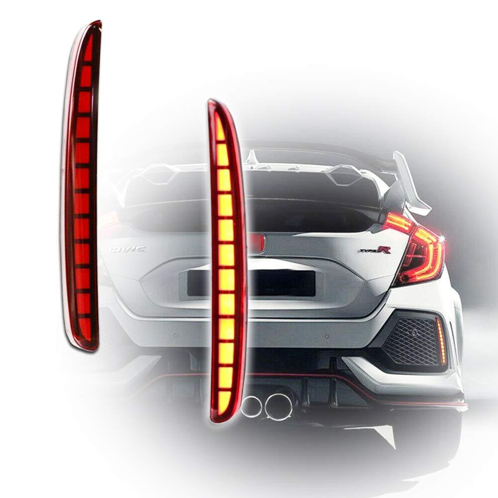 GTINTHEBOX Red Lens Full LED Bumper Reflector Lights Tail Brake Rear Fog Lamps for 2017-up Honda Civic Hatchback, Type-R or SI 4-Door Sedan by GTINTHEBOX