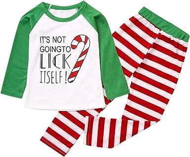 2-8 Años, SO-buts Navidad Niños Niño Camisa Camiseta Top + Pantalones a Rayas Navidad Ropa Familiar Pijamas Ropa De Dormir Conjunto De Trajes: Amazon.es: Ropa y accesorios