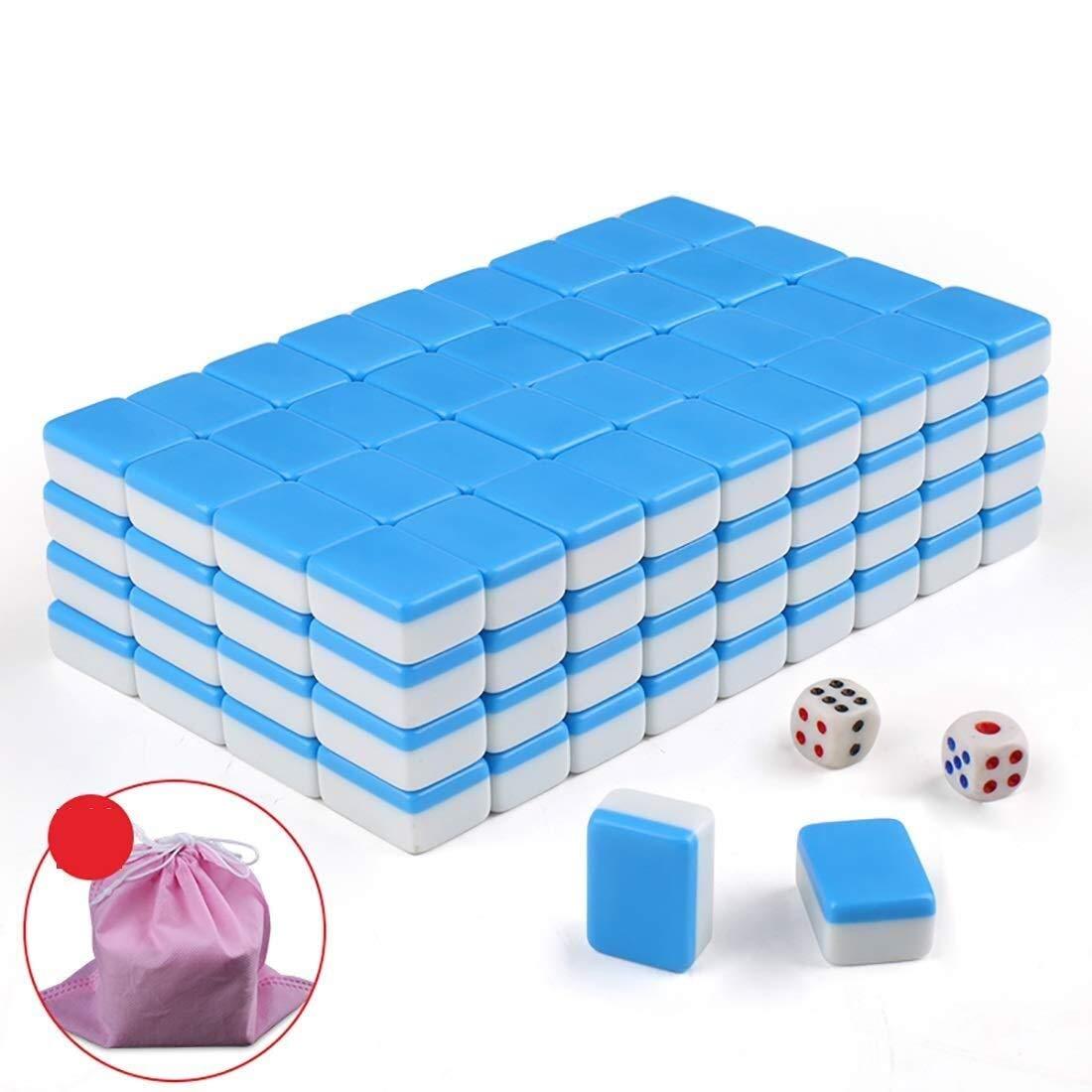 Blau Mahjong Set, Travel Home Mini tragbare 144 Melamin Mahjong, geeignet für Familienfeiern Gesellschaftsspiele (22  17 mm) (Farbe   Blau)