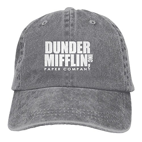 - Erchee Dunder Mifflin Unisex Washed Baseball Cap Adjustable Cowboy Cotton Ball Hat Ash
