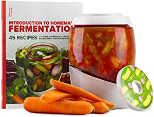 Mortier Pilon - Fermentation Kit with 2L Glass Fermentation Crock, Lid, Weight and 45 Recipe Book – Make Sauerkraut, Kimchi, Pickles Or Any Fermented Probiotic Foods