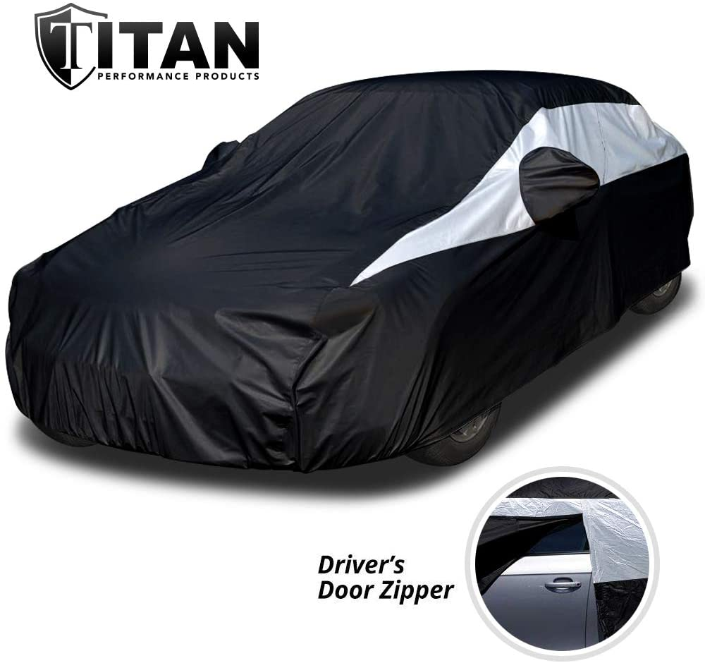 Lightweight Car Cover (Jet Black) for Camry, Mustang, Accord and More. Waterproof Car Cover Measures 200 Inches, Comes with 7 Foot Cable and Lock. Features a Driver-Side Zippered Opening.