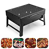 Image of Barbecue Grill Uten Portable Lightweight Simple Charcoal Grill Perfect Foldable Premium BBQ Grill for Indoor Outdoor Campers Barbecue Lovers Travel Park Beach Wild etc.[Small, Black]