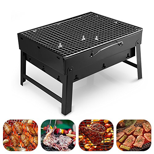 Portable Lightweight Simple Charcoal Grill Perfect Foldable Premium BBQ Grill for Outdoor Campers Barbecue Lovers Travel Park Beach Wild etc.[Small, Black] (Hibachi Grill)