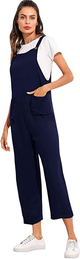 Cottagecore Clothing, Soft Aesthetic SOLY HUX Women Straps Pocket Pinafore Long Bib Overall Suspender Jumpsuits $27.99 AT vintagedancer.com