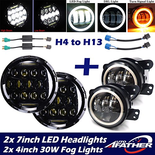 (LED Headlights + Fog Lights + DRL + Turn Signal Light For 2007-2017 Jeep Wrangler - Sealed Beam Super Bright Round 7 Inch 4 Inch Combo Set - Package Of 2PCS Fog Light and 2PCS Headlight)
