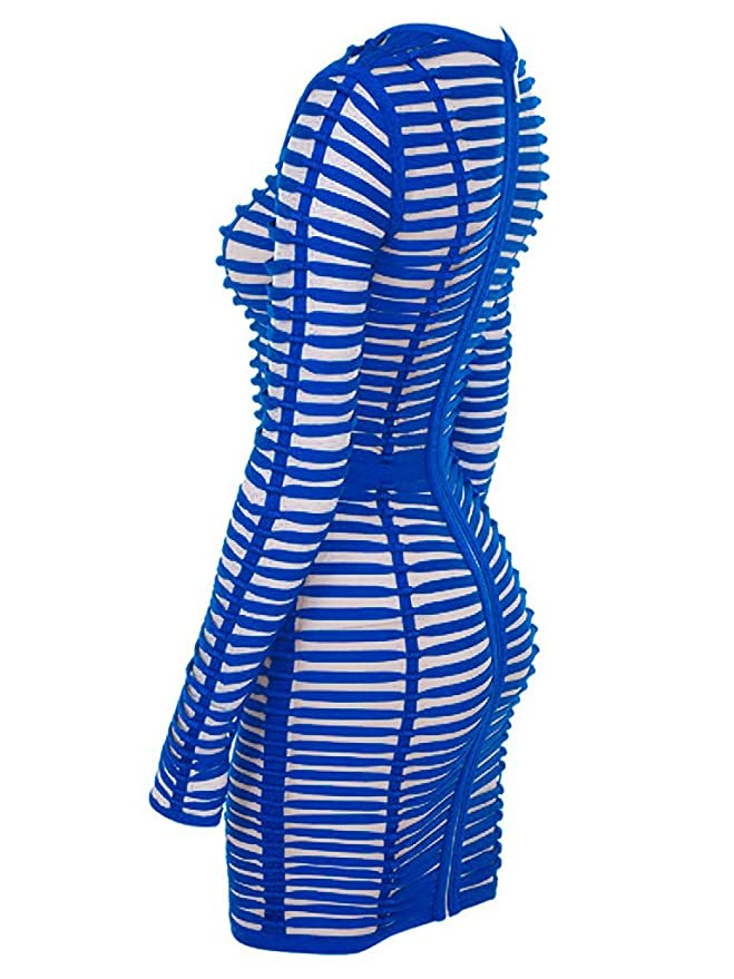 ea9deca641bc S Curve Women's See Through Mesh Long Sleeve Strings Blue Strappy Bandage  Woven Cage Dress at Amazon Women's Clothing store: