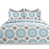 DriftAway 3 Piece Bella Reversible Quilt Set/Bedspreads, Coverlets, Repeated Medallion/Floral Pattern, 100% Cotton Cover, Pre-Washed, Aqua/Gray (Full/Queen)