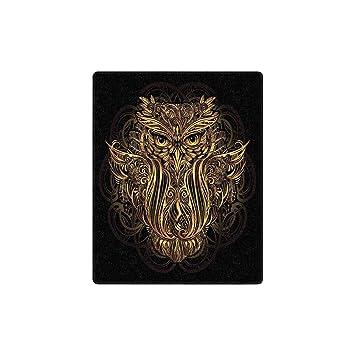 Amazon.com: INTERESTPRINT Gold Boho Owl Luxury Soft Warm ...