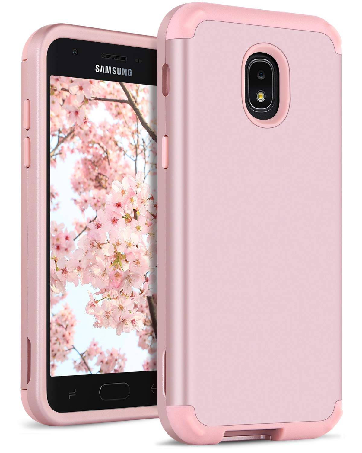 DOMAVER Case for Galaxy J3 2018, Samsung Galaxy J3 Case Shockproof Heavy Duty Dual Layer Hybrid 3 in 1 Hard PC Soft Bumper Protective Phone Case Cover Samsung Galaxy J3 2018, Rose Gold/Pink Google Pixel 3